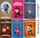 vintage halloween poster design ... | Shutterstock .eps vector #725791897