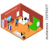 photo studio interior with... | Shutterstock .eps vector #725792377