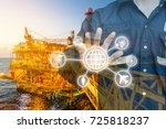double exposure of engineer or... | Shutterstock . vector #725818237