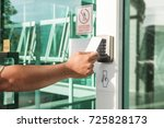 hand using security key card... | Shutterstock . vector #725828173