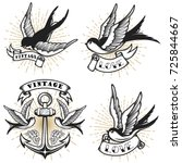 set of vintage style tattoo... | Shutterstock .eps vector #725844667