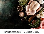 from above shot of uncooked... | Shutterstock . vector #725852107
