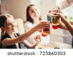 people cheers celebration toast ... | Shutterstock . vector #725860303