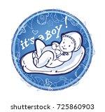 baby shower doodle template.... | Shutterstock .eps vector #725860903