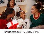 very happy little girl with... | Shutterstock . vector #725876443