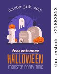 halloween invitation card with... | Shutterstock .eps vector #725883853