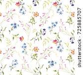 Stock photo watercolor pastel floral pattern tender leaves red orange russelia blue plumbago lantana 725885707