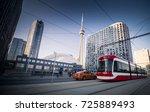 street cars during in toronto... | Shutterstock . vector #725889493