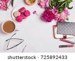 pink peonies  coffee with milk... | Shutterstock . vector #725892433