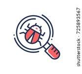 bug in magnifying glass  ... | Shutterstock .eps vector #725893567