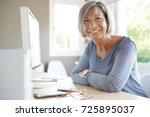 portrait of mature... | Shutterstock . vector #725895037