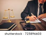 gavel on wooden table and... | Shutterstock . vector #725896603