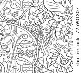 seamless mehndi vector pattern. ...   Shutterstock .eps vector #725901307