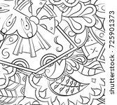 seamless mehndi vector pattern. ... | Shutterstock .eps vector #725901373