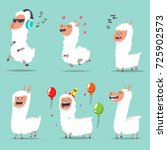 cute llama in different actions.... | Shutterstock .eps vector #725902573