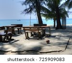wooden tables nobody an the... | Shutterstock . vector #725909083