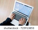 business women reviewing data... | Shutterstock . vector #725913853