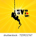 the girl climbs the rope. never ... | Shutterstock .eps vector #725921767