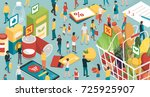 people doing grocery shopping ... | Shutterstock .eps vector #725925907