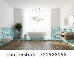 white and green tiles bathroom... | Shutterstock . vector #725933593