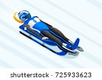 luge sled race athlete winter... | Shutterstock .eps vector #725933623