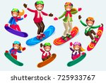 snowboard jump isolated icons....   Shutterstock .eps vector #725933767