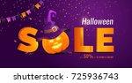 halloween sale banner with big... | Shutterstock .eps vector #725936743