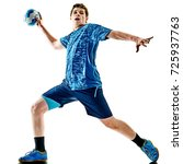 one caucasian handball player... | Shutterstock . vector #725937763