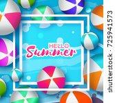 realistic colorful beach balls. ...   Shutterstock . vector #725941573