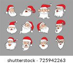 funny santa claus heads set... | Shutterstock .eps vector #725942263