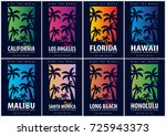 set of surfing graphics with... | Shutterstock .eps vector #725943373