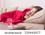 sick woman covered with a... | Shutterstock . vector #725943577
