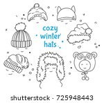 cozy winter hats set  outline... | Shutterstock .eps vector #725948443