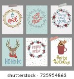 set of cute christmas greeting... | Shutterstock .eps vector #725954863