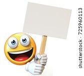 emoji holding blank board... | Shutterstock . vector #725960113