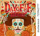 cheerful day of the dead poster ... | Shutterstock .eps vector #725962777