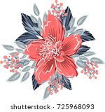 poinsettia hibiscus wedding... | Shutterstock .eps vector #725968093