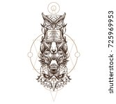 totem eagle  wolf  fox and owl... | Shutterstock .eps vector #725969953