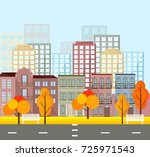 city street view  buildings in... | Shutterstock .eps vector #725971543