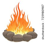 large bonfire surrounded by... | Shutterstock .eps vector #725980987