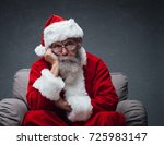 lazy bored santa claus leaning... | Shutterstock . vector #725983147