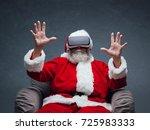 santa claus experiencing... | Shutterstock . vector #725983333