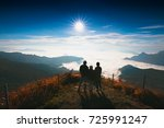 asian family looking sunrise at ... | Shutterstock . vector #725991247