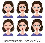facial expressions of a woman.... | Shutterstock .eps vector #725992177