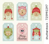 set of christmas and new year... | Shutterstock .eps vector #725992297
