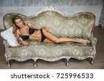 beautiful girl blonde in... | Shutterstock . vector #725996533