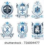 set of old style heraldry...   Shutterstock .eps vector #726004477