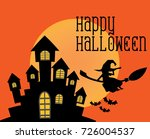 halloween dark castle on orange ... | Shutterstock .eps vector #726004537