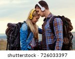 happy couple of tourists in... | Shutterstock . vector #726033397