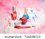 nail polish on an abstract... | Shutterstock . vector #726038113